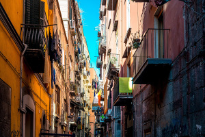 Street view of old town in Naples city
